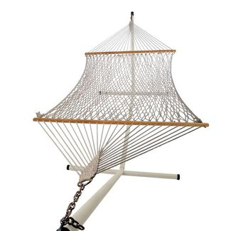 Oversized Cotton Rope Hammock with Steel Stand
